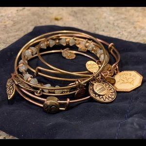 6 Alex and Ani Bracelets Gold